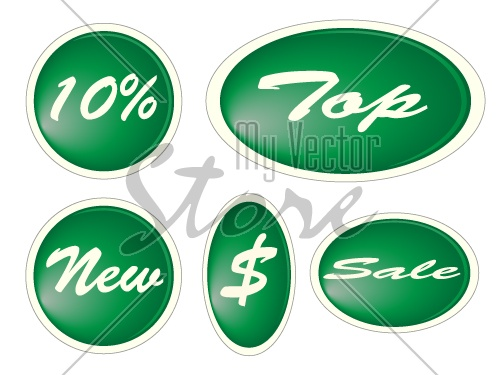 vector Set of green circle labels