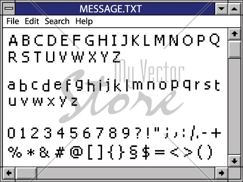 vector nostalgic window including full pixel font alphabet for your text
