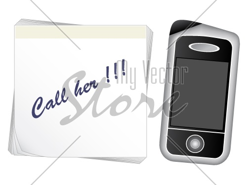 vector note paper - mobile phone
