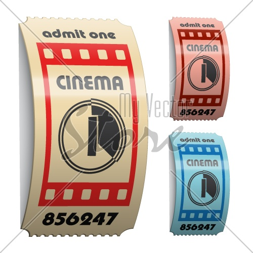 vector 3d shiny curled cinema tickets