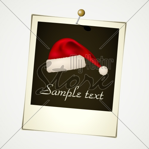 vector instant photo with christmas hat