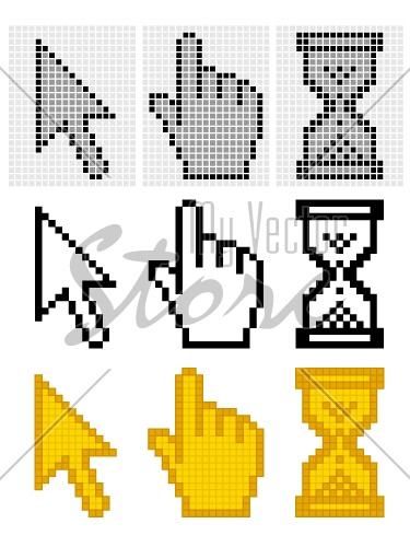 vector pixel cursors - easy change every color and thickness grid or remove grid