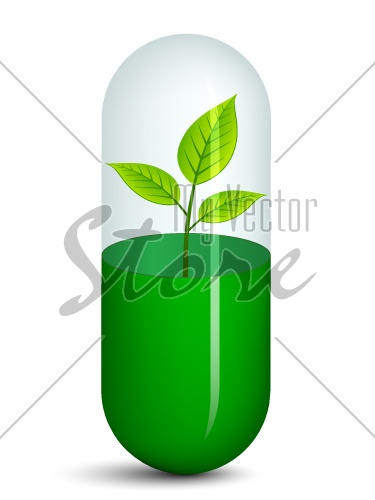 vector pill with plant