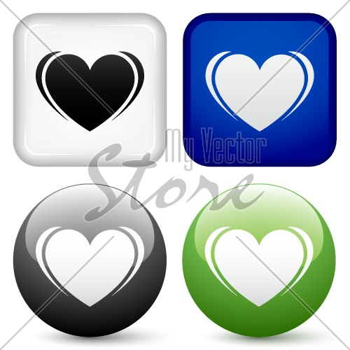 vector heart buttons