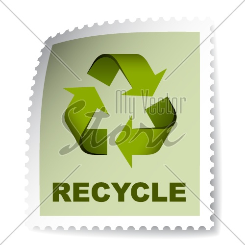 vector recycle post stamp