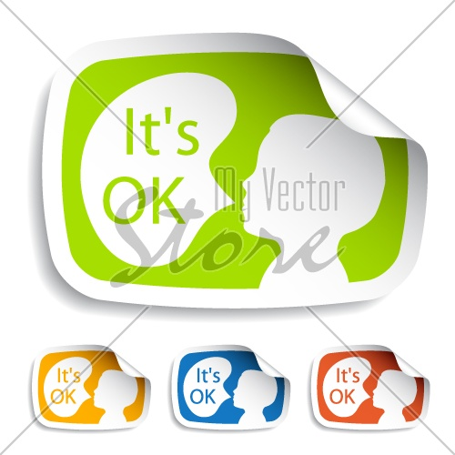 vector stickers with speech bubbles