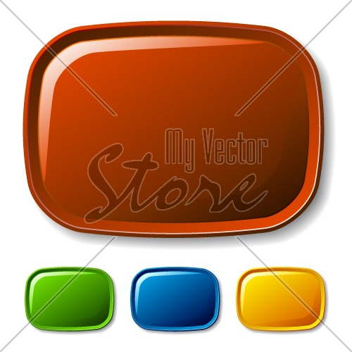 vector blank rounded glossy buttons