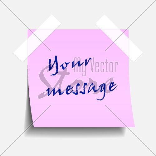 vector taped pink note paper