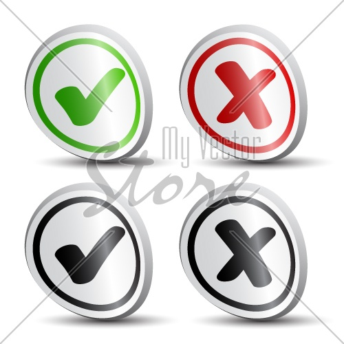 vector white checkmarks round labels