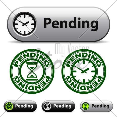 vector pending time buttons and stamps