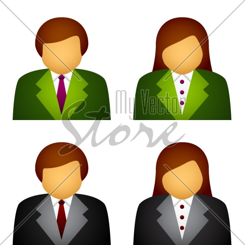 vector male female business icons