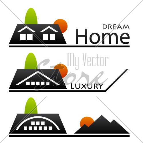 vector house roof pictograms