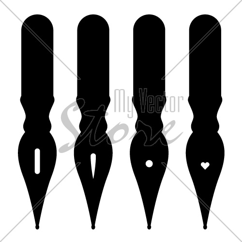 vector vintage ink pen nibs