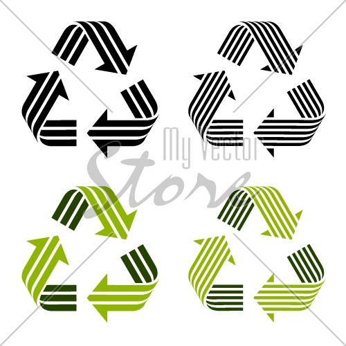 vector striped recycle symbols