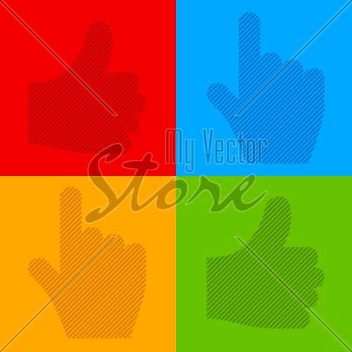 vector striped transparent cursor hands