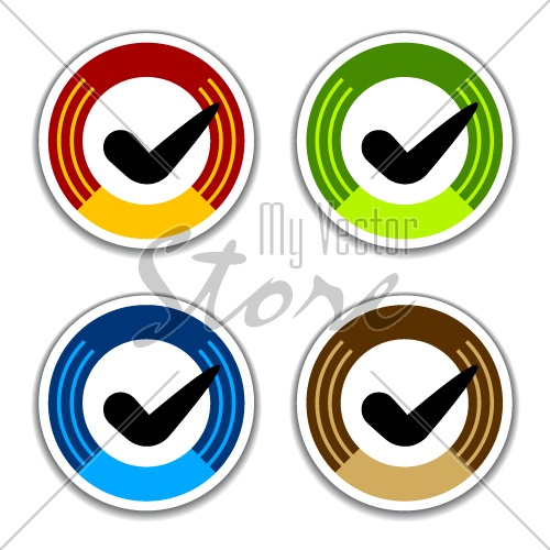 vector colored checkmark stickers