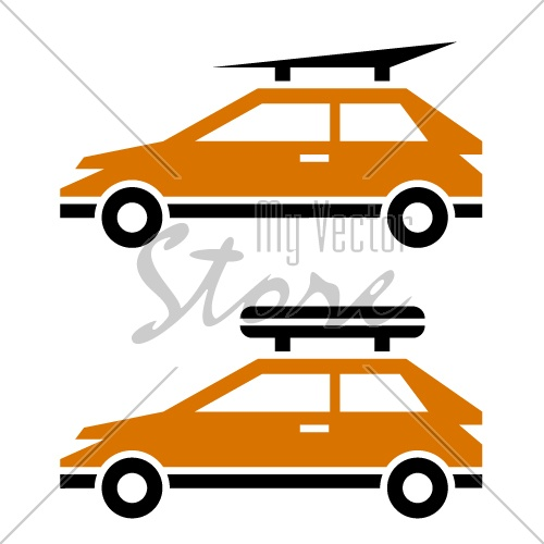 vector car with luggage roof rack icon