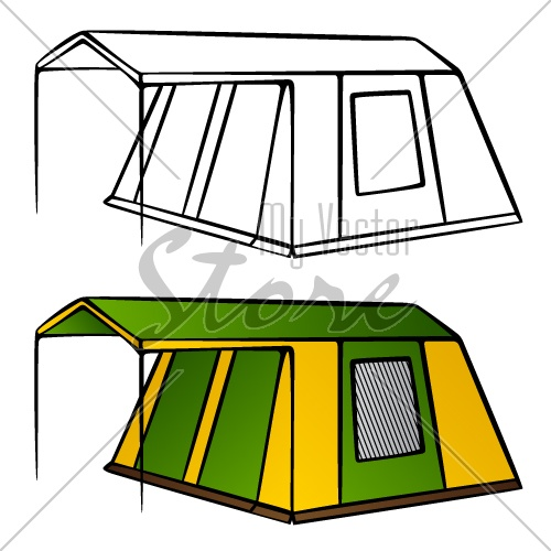 vector old family camping tent