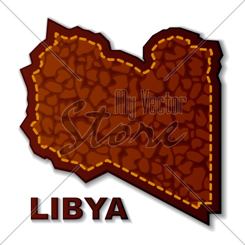 vector leather Libyan Republic map