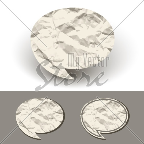 vector crumpled paper speech bubble
