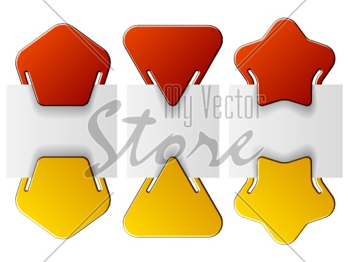 vector attached labels - triangle pentagon star