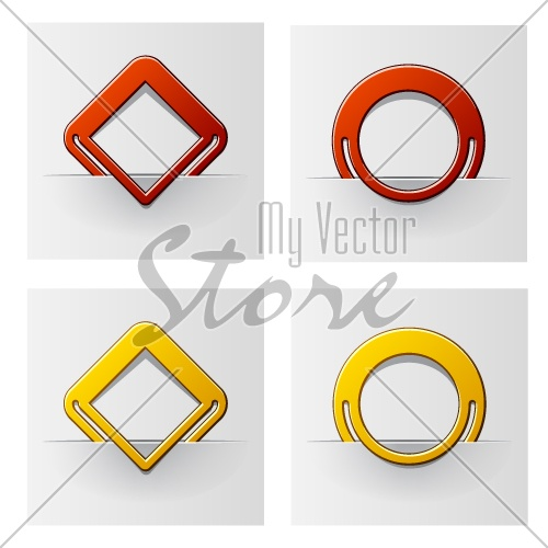 vector red and yellow attached frames