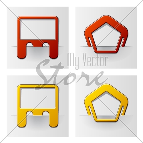 vector attached frames - pentagon and rectangle
