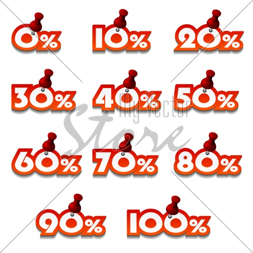 vector attached promotional percentage numbers