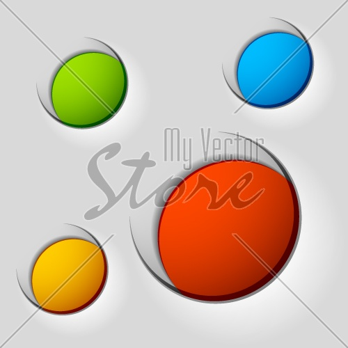 vector blank round labels attached on paper