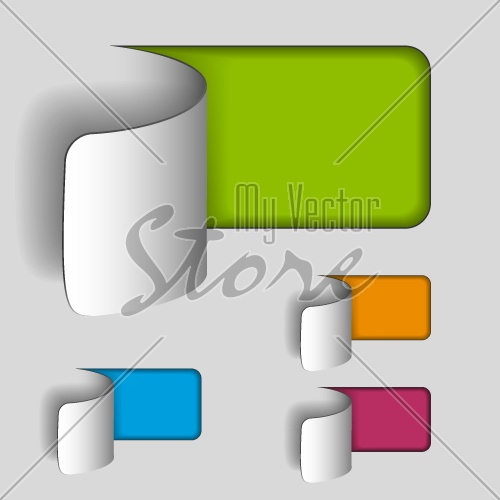 vector blank paper cut out rectangle labels