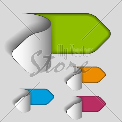 vector blank paper cut out arrow labels