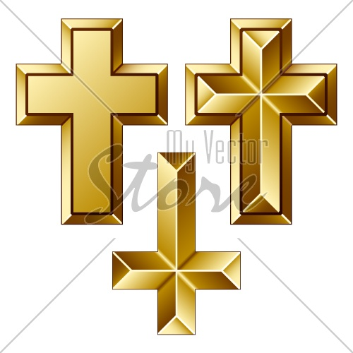 vector massive golden christian crosses