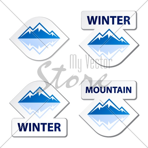 vector winter blue mountain stickers