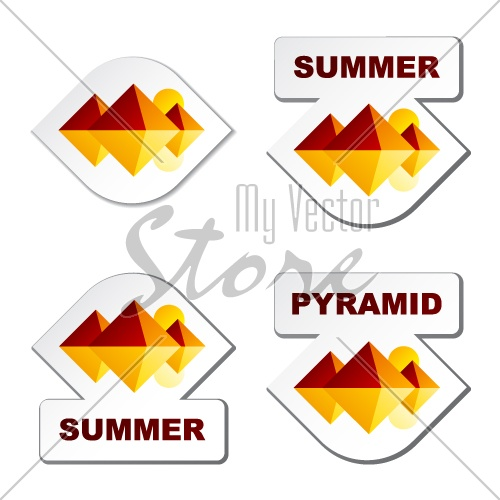 vector summer egypt pyramid stickers