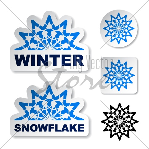 vector winter blue snowflake stickers
