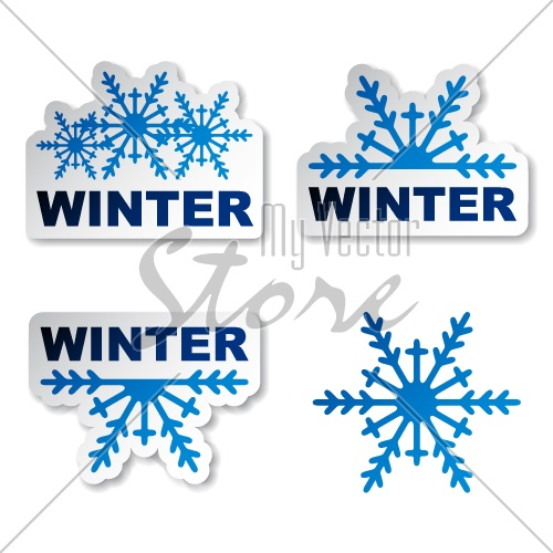 vector winter snowflake promotion stickers
