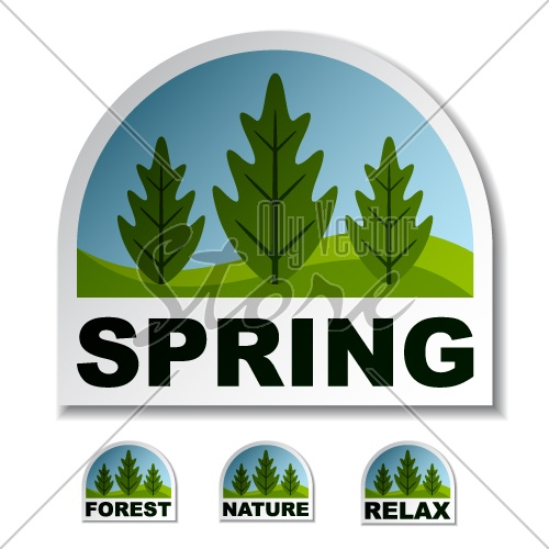 vector spring tree forest stickers