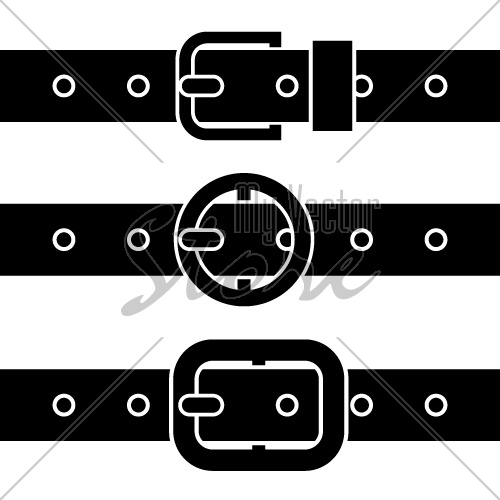 vector buckle belt black symbols