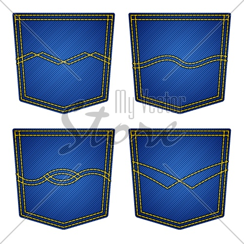 vector jeans pockets isolated