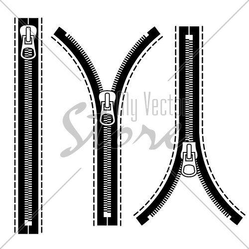 vector zipper black symbols