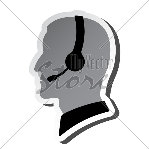 vector call center person silhouette