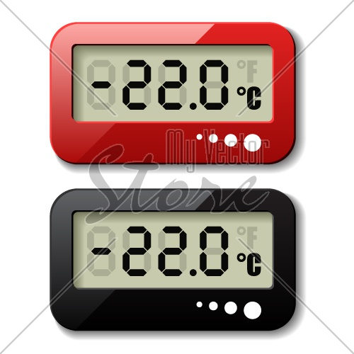 vector digital thermometer icons