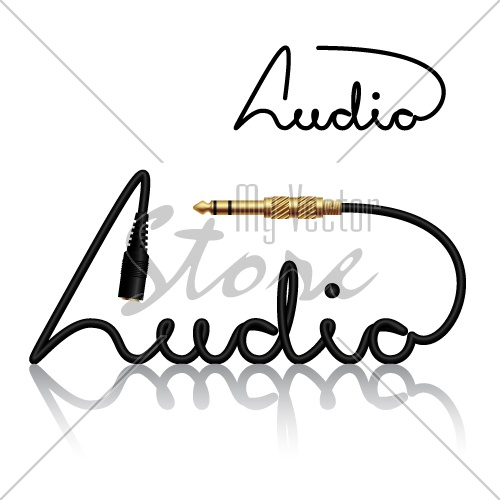 vector jack connectors audio calligraphy