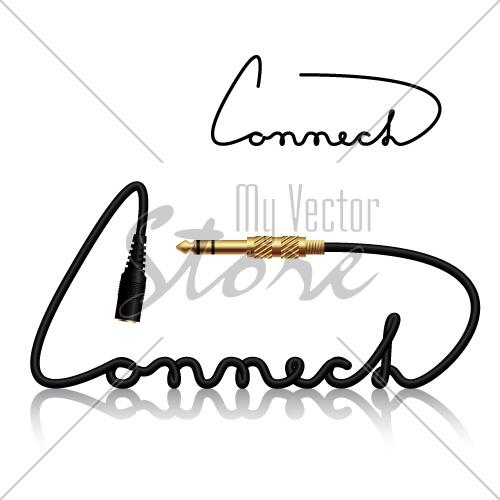 vector jack connectors connect calligraphy