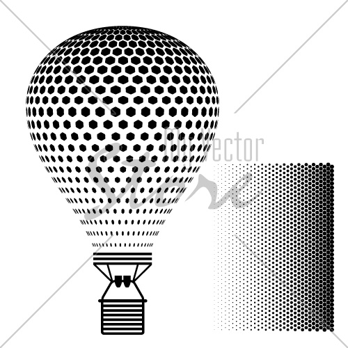 vector hot air balloon black silhouette