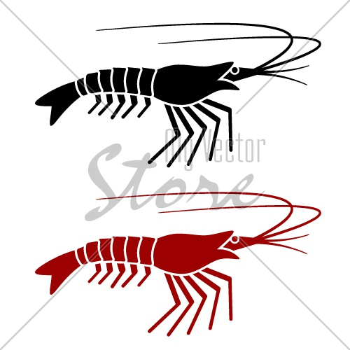 vector shrimp silhouette