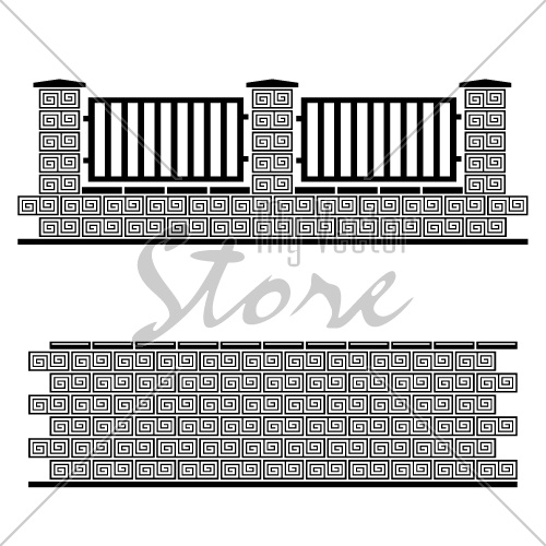 vector black ornate brick wall