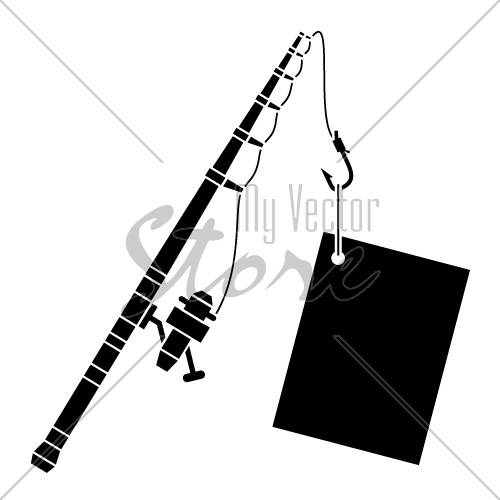 vector black fishing rod with label