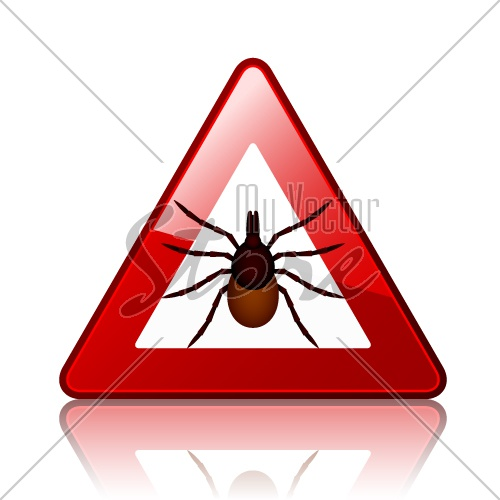 vector Ixodes ricinus tick road warning sign