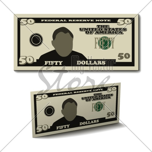 vector fifty dollar paper bill banknote